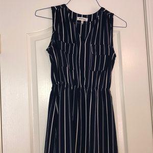 Navy dress with white stripes